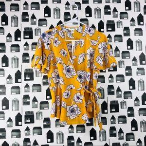 Monteau   Floral Wrap Tie Blouse